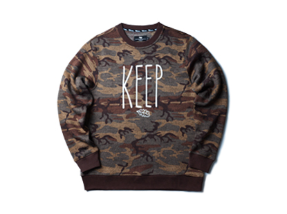 HOLIDAYOUTERWEAR [홀리데이아우터웨어]Nature defender crewneck - beige/brown camo HOLIDAY OUTERWEAR