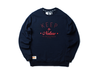 KEEP THE NATURE crewneck - navyHOLIDAY OUTERWEAR
